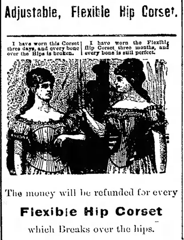 Kristin Holt | Corsets in the Era: Yes, even Maternity Corsets. Ad for Adjustable Flexible Hip Corset, from The Independent Record of Helena, Montana on November 15, 1880.