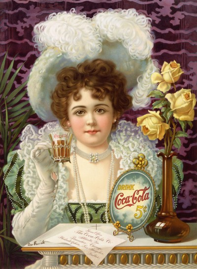 Kristin Holt | Victorian Era: The American West. Vintage illustration~ 19th Century Coca-Cola Advertisement at 5 cents. Well-dressed turn-of-the-century lady sips Coca-Cola from a soda fountain glass.