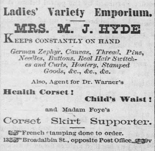 Kristin Holt | Corsets in the Era: Yes, even Maternity Corsets. Ad in The Albany Register of Albany, Oregon on January 19, 1877 for Dr. Warner's Health Corset, Child's Waist, and a Corset Skirt Supporter.