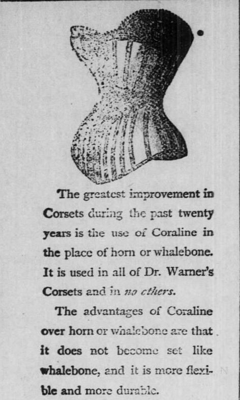 Kristin Holt | Corsets in the Era: Yes, even Maternity Corsets. Advertisement for Coraline Corsets--that come in different sizes and LENGTHS. Part 1 of 2. Advertised in The Valley Falls Vindicator of Valley Falls, Kansas on April 18, 1891.