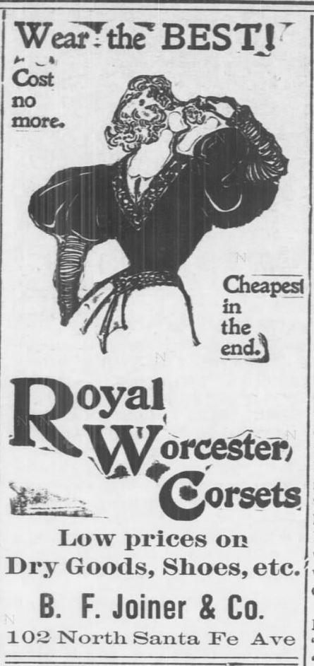 Kristin Holt | Corsets in the Era: Yes, even Maternity Corsets. Advertisement for Royal Worcester Corsets. Illustrated Ad shows a stylishly dressed woman with corseted waist. From Salina Daily Republican-Journal of Salina, Kansas on June 10, 1897.