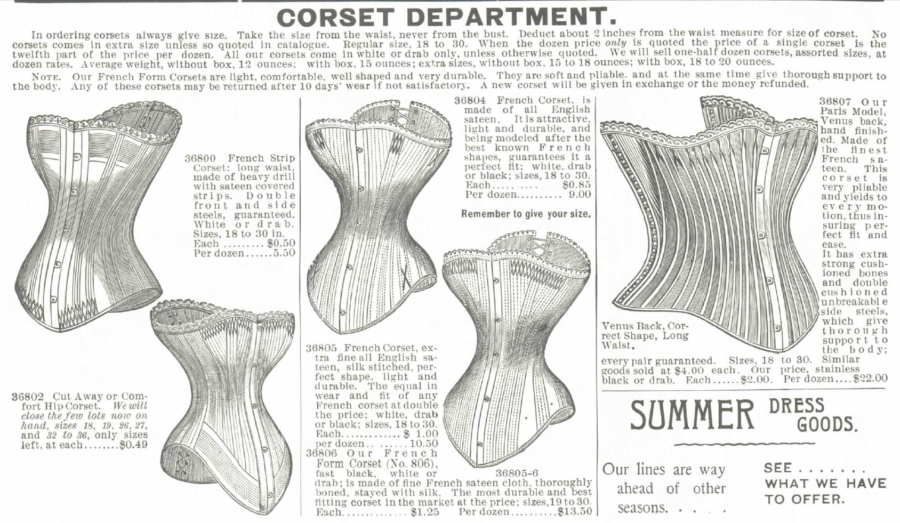 "Kristin Holt | Corsets in the Era: Yes, even Maternity Corsets. Image from 1895 Montgomery Ward Spring and Summer Catalog, no. 57, ""How to Measure"" for a corset."