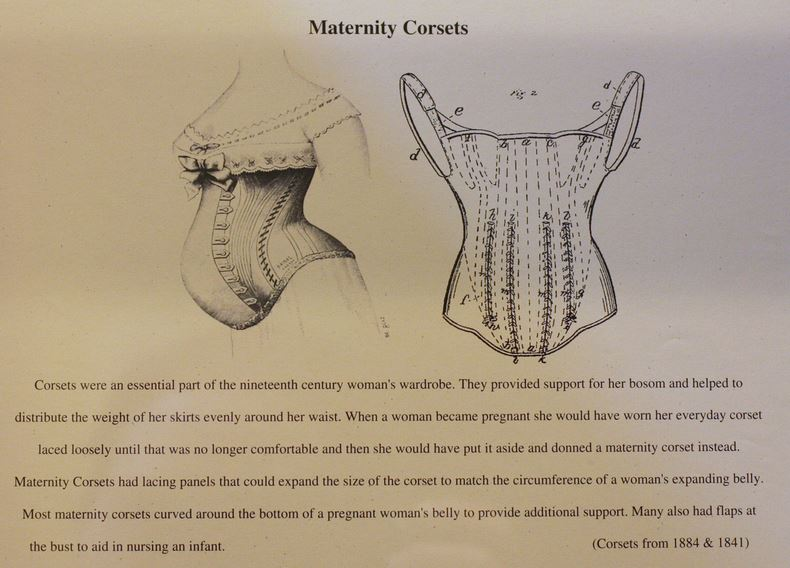 Kristin Holt | Corsets from the Era: Yes, even Maternity Corsets. This vintage pair of images shows a Maternity Corset (from 1884 and 1841) with descriptions.