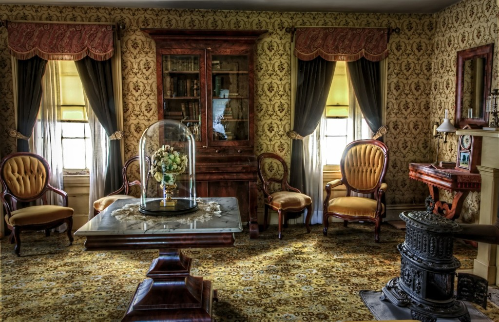 Kristin Holt | Victorian Era: The American West. Photograph of late 19th century parlor in all its finery.