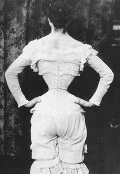 Kristin Holt | Corsets in the Era: Yes, even Maternity Corsets. Vintage image from the Victorian Era (or Edwardian Era) showing a woman's view from the back, dressed only in (a full compliment of) ladies underwear. We see her waist is constricted with a corset to a waspish, tiny circumference.