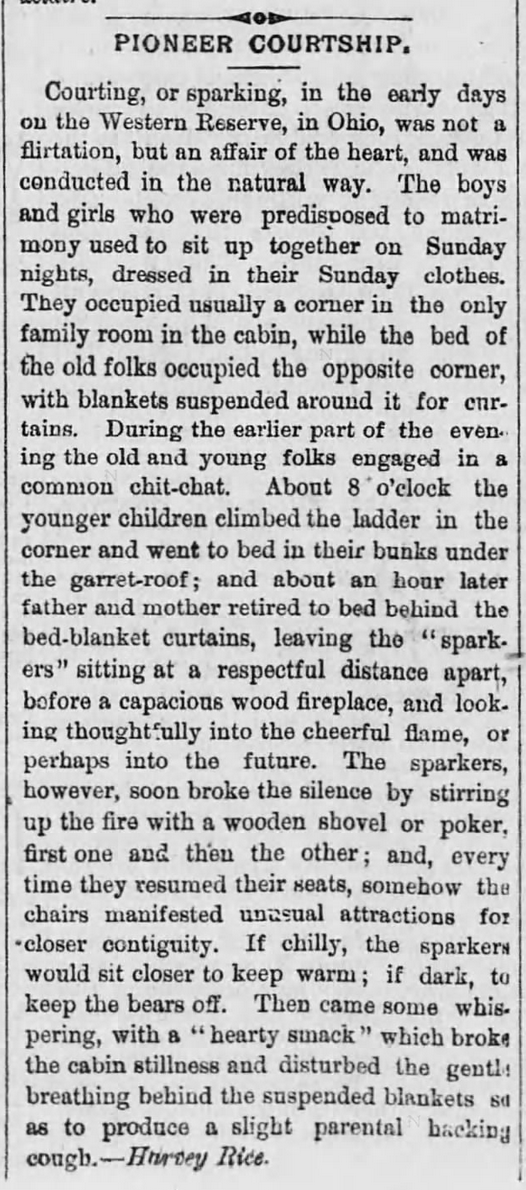 "Kristin Holt | ""Pioneer Courtship"" article, from Wyoming Democrat of Tunkhannock, Pennsylvania on April 27, 1883. Related to Courtship, Old West Style."