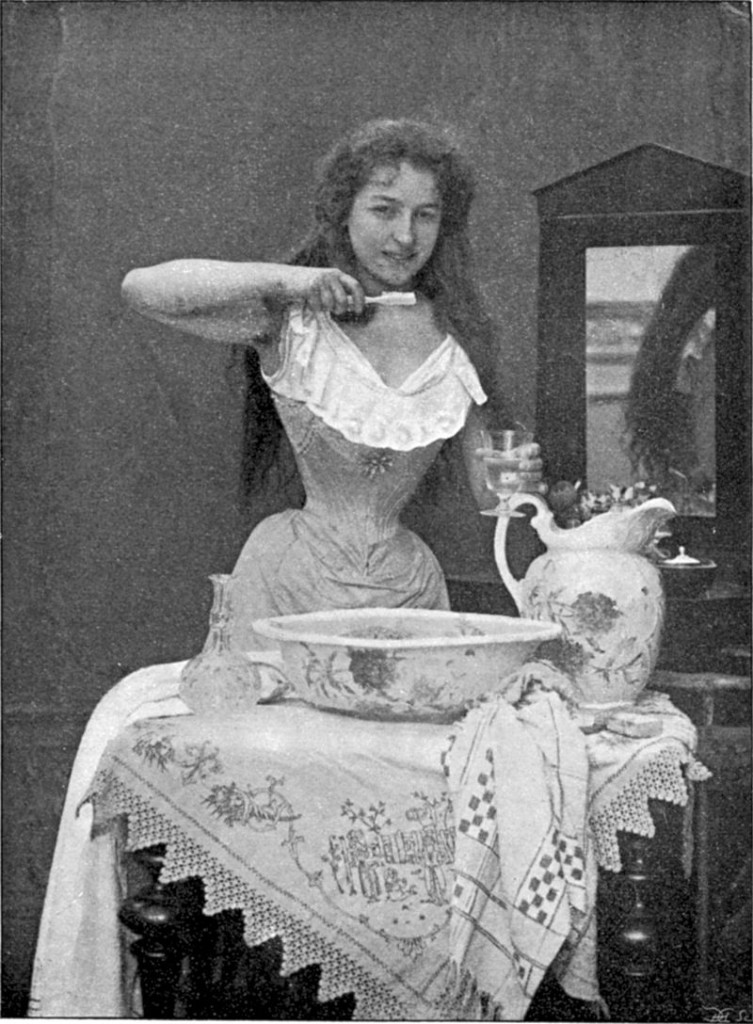A photo from 1899 showing the use of a toothbrush. Created: 31 March 1899 [Image: Public Domain]