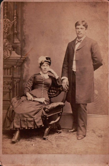 "Kristin Holt | Old Fashioned Notions about Marriageable Women. Cabinet Card photograph of an unidentified couple, probably husband and wife, likely late 19th Century. Cabinet card's back is stamped ""Wm. Shew's Photographic establishment, No 523 Kearny Street, San Francisco."" [Cabinet print owned by Kristin Holt; purhcased on ebay]"