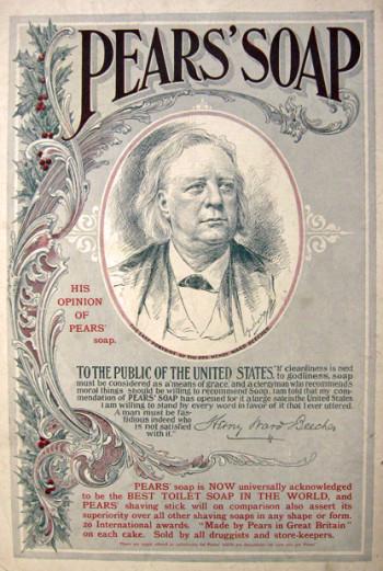 Pears' Soap Advertisement, featuring endorsement of Henry Ward Beecher