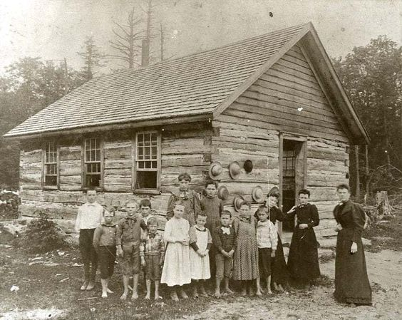 Kristin Holt   Education in the Old West. Image: Teacher with her students outside a log one-room schoolhouse. Image courtesy of Pinterest.