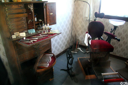 Victorian Dentist Office with Antique Instruments (evidently in a city and not the frontier)