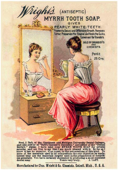 Kristin Holt | Victorian Era Dentistry Advertisements. Vintage Dental Ad Wright's Antiseptic Myrrh Tooth Soap.