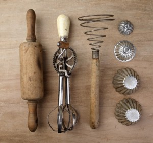 antique rolling pin. egg beater. potato masher. cookie cutters. shutterstock_115368571 CROPPED SMALLER