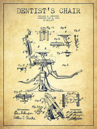 Dental Chair Patent Drawing, 1892