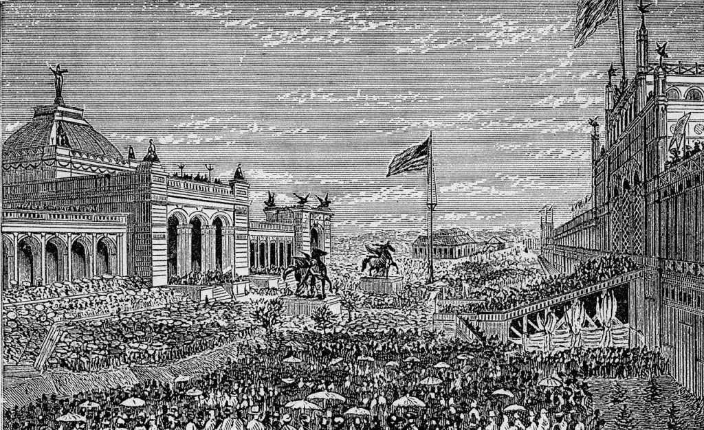 Opening Day Ceremonies at the Centennial Exhibition at Philadelphia. May 10, 1876. [Image: Public Domain, engraving]