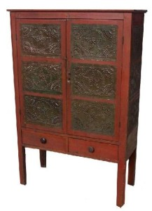 Punched Tin Panel Doors on Antique Pie Safe: www.antiquecountryfurniturestore.com