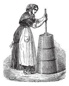 Old engraved illustration of a woman churning butter.