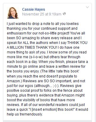Cassie Hayes Quote from FB about book reviews
