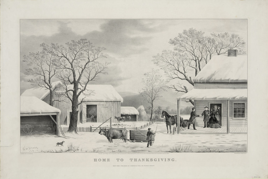 Home to Thanksgiving, lithograph by Currier and Ives (1867). [Image: Public Domain]