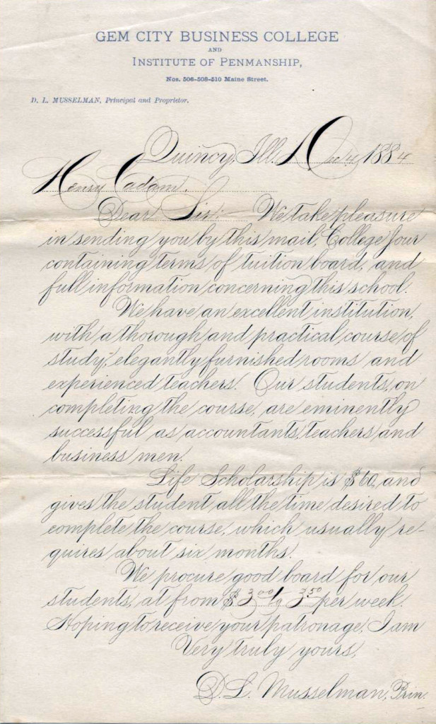 Enduring example, twenty years after Platt Rogers Spencer's death, of Spencerian script from December, 1884. [Image: Public Domain]