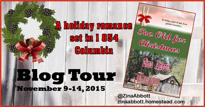 Kristin Holt | A holiday romance set in 1854 Columbia: Too Old for Christmas by Zina Abbott. Blog Tour November 9-14, 2015 (contains book review)