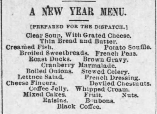 New Year's Menu from Pittsburg Dispatch