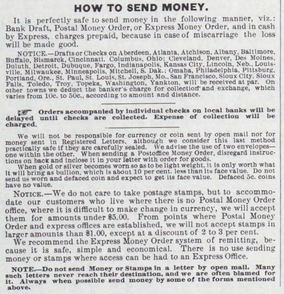 How to Send Money. Montgomery Ward & Co., 1885 Catalogue, pg 1