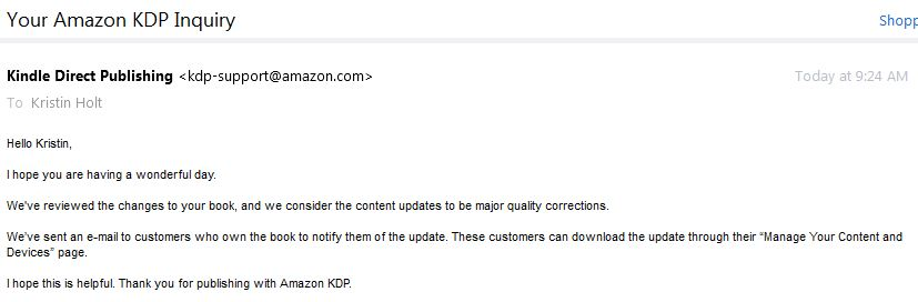 KDP emailed buyers