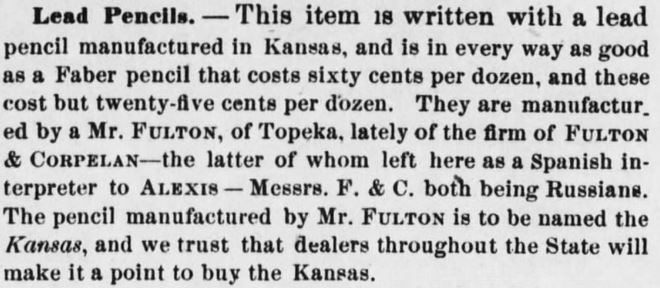 Newspaper clipping from Kansas Farmer, Topeka Kansas, Monday, 1 April 1872 edition. Image courtesy of newspapers.com