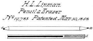 Hymen Lipman Pencil Eraser Patent, 1858. Image: Public Domain