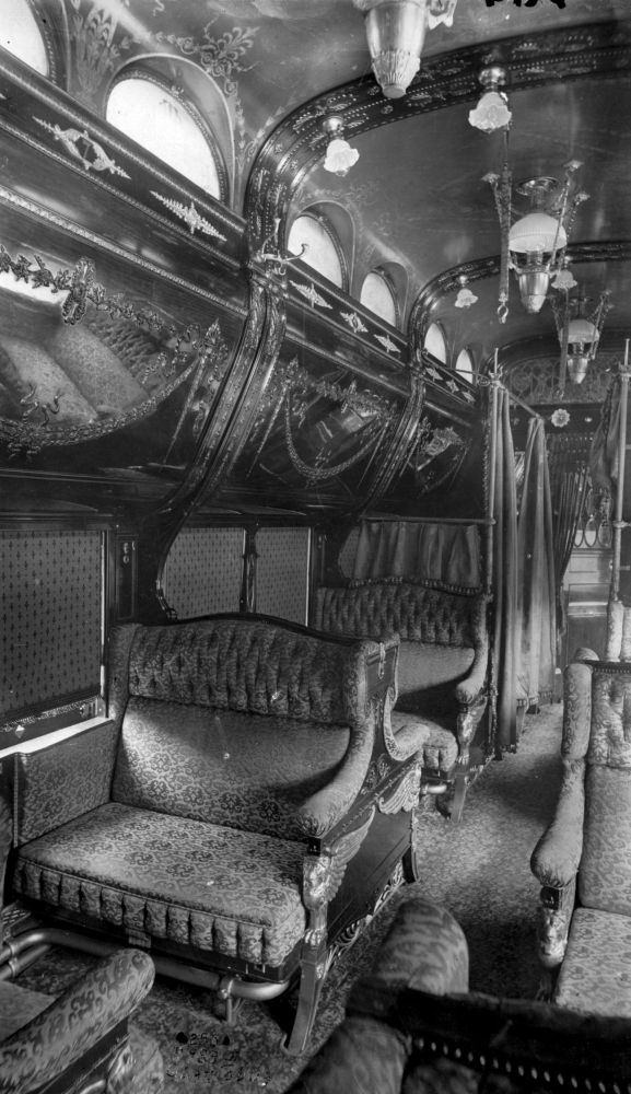 "Pullman Sleeper Car. Upholstered Seats folded down into a bed much like today's R.V. Trailers. The rounded overhead ""bin"" came down revealing another bed. Curtains provided privacy. Image: Public Domain"
