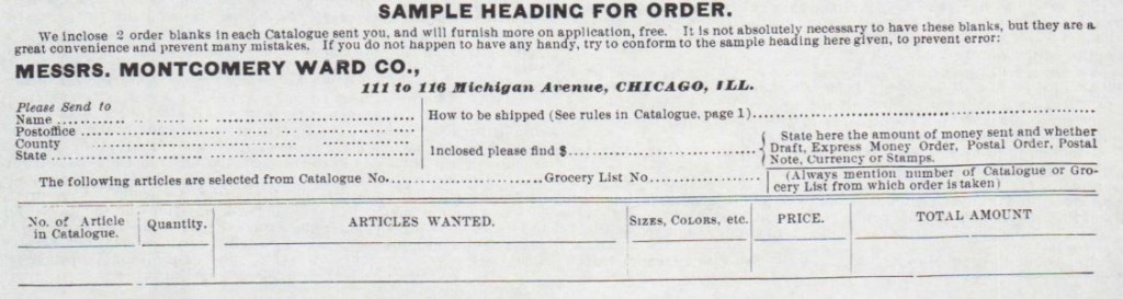 Sample Heading for Order. Montgomery Ward & Co., 1885 Catalogue, pg 2