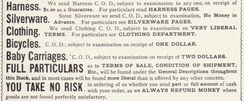Terms Conditions of Shipment. thru conclusion YouTakeNoRisk. SearsRoe 1894 pg 4