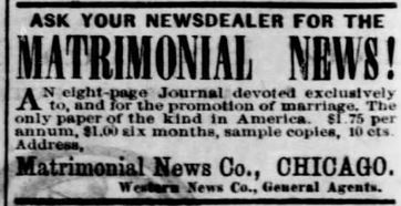 Advertisement for Matrimonial News. The Des Moines Register, 12 Apr 1873.