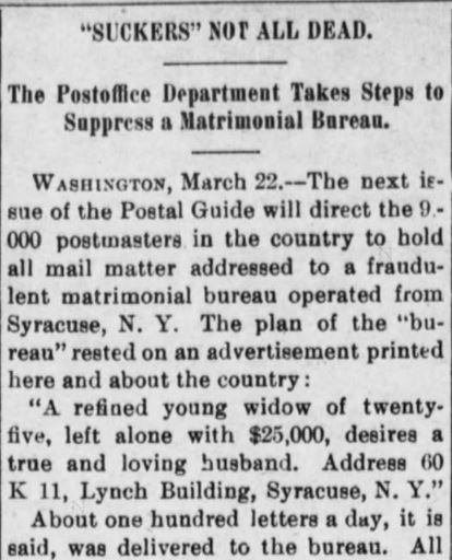Boys run scam. Suppressed by PostOffice Dept. Part 1. The Evening Bulletin. Maysville KY. 25 Mar 1901, Monday. Pg 4.