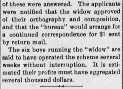 Boys run scam. Suppressed by PostOffice Dept. Part 2. The Evening Bulletin. Maysville KY. 25 March 1901, Monday. Pg 4.