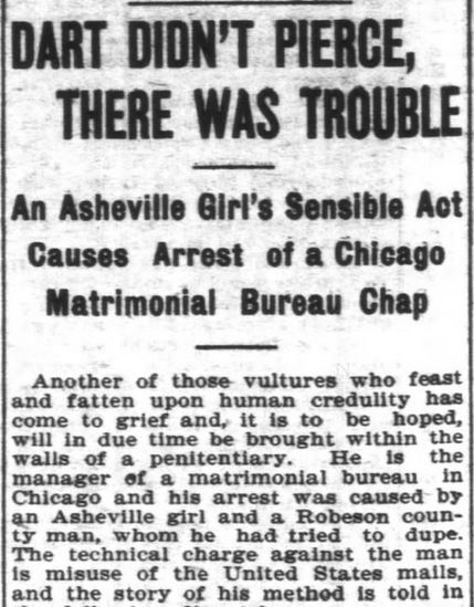 Bureau scam Asheville Girl Part 1. Asheville Citizen-Times. Asheville NC. 10 Mar 1902