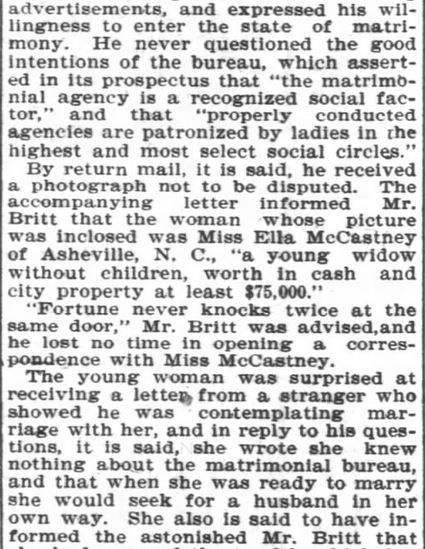 Bureau scam Asheville Girl Part 3. Asheville Citzen-Times. Asheville NC. 10 Mar 1902