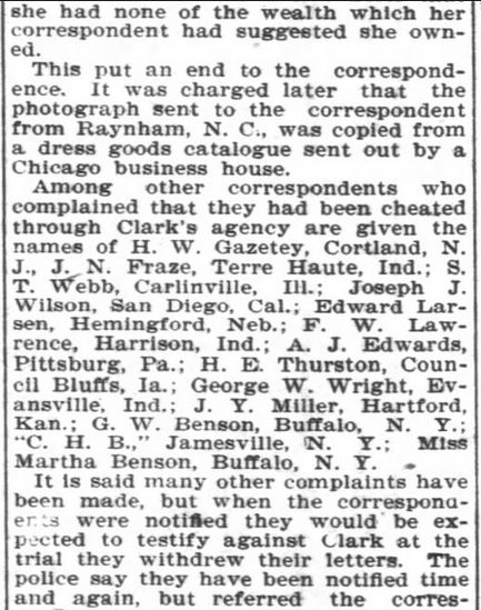 Bureau scam Asheville Girl Part 4. Asheville Citzen-Times. Asheville NC. 10 Mar 1902