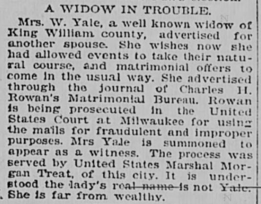 Charles Rowan. Widow in Trouble. Virginian-Pilot, Norfolk VA. 16 May 1899
