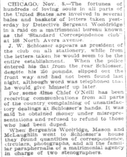 Chicago Standard Correspondence Club, Part 2. Pittsburgh Daily Post. 9 November, 1902.