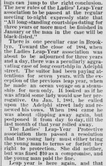 Every 4 Years. part 2. The Saint Paul Globe. St. Paul MN. 15 Jan 1888. Sunday. Pg 4