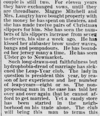 Every 4 Years. part 3. The Saint Paul Globe. St. Paul MN. 15 Jan 1888. Sunday. Pg 4
