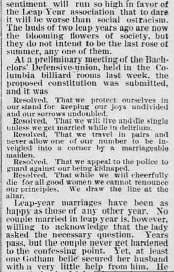 Every 4 Years. part 5. The Saint Paul Globe. St. Paul MN. 15 Jan 1888. Sunday. Pg 4