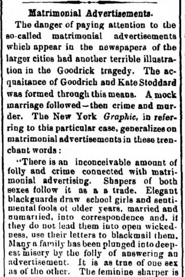 Article reported in The Herald and Torchlight, Hagerstown, Maryland. 6 August, 1873. Part 1 of 2.