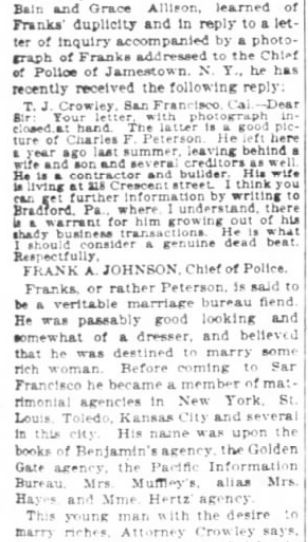 San Francisco Chronicle. 29 January, 1899. Part 4 of 10.