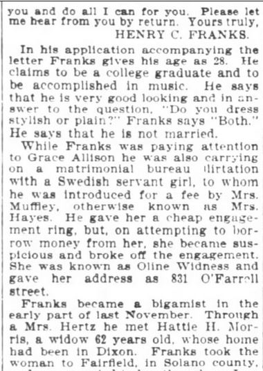San Francisco Chronicle. 29 January, 1899. Part 8 of 10.