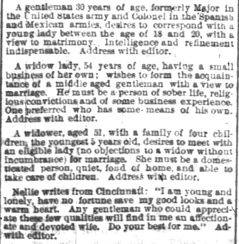Personal Classified Ads for Matrimonial Possibilities. Source: Indianapolis News, 15 Feb 1873. [Image: Courtesy of Newspapers.com]