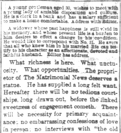 Indianapolis News, 15 Feb 1873. United States advertisements for potential brides and grooms.