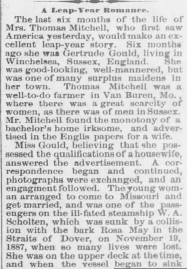 Leap Year Romance. part 1. The Weekly KS Chief. Troy KS. 21 Jan 1892